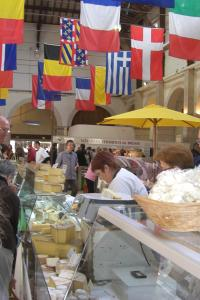Cheese stalls in Beaune Market Hall